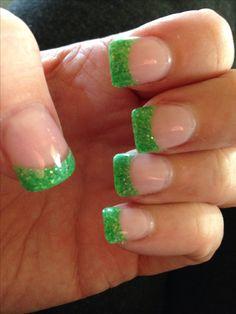 Green Glitter Tips. Green Glitter Tips. Related Posts Solar+Nail+Tips Purple Tips, Green Tips, Green And Purple, Glitter French Tips, French Tip Nails, Glitter Solar Nails, Nail Tips, Nail Ideas, Green Glitter