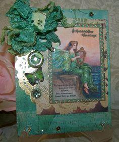 St. Patricks Day Card Handmade Vintage Style St. by TheNestinSLT