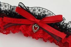Sexy red and black lace wedding garter