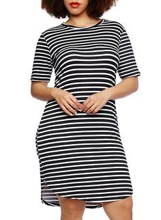 Plus Size Striped Midi Dress,BLACK/WHITE