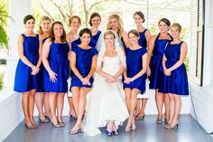 royal blue bridesmaid dresses, alfred sung, front porch wedding photo