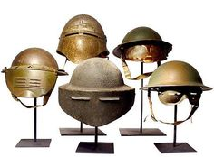 Various American and British helmets.