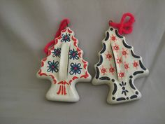 2 Vintage Christmas Tree Aluminum Cookie Cutters Hand Painted #ChristmasOrnament