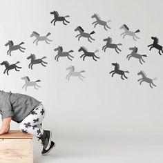 grey horses wall adhesive