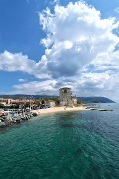 Tower of Ouranoupoli, Chalkidiki, Greece - I LIVED in that lighthouse for a short time while my then husband worked at the monastery on Athos! Ireland Travel, Greece Travel, Wonderful Places, Beautiful Places, Myconos, Places In Greece, Thessaloniki, Adventure Is Out There, Vacation Spots