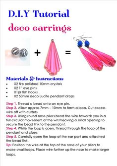 Deco Earrings Free Jewellery Tutorials | Etelage www.etelage.com