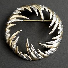 Vintage Sarah Coventry Fire & Ice Vortex Pin Silver & Gold Signed