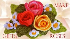 Como tejer rosas a crochet  - Make easy Knitting beautiful bouquets of r...