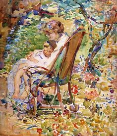 Alice Schille - Mother and Child in a Garden