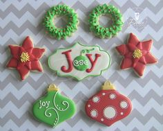 Joy! Christmas Themed Decorated Sugar Cookies