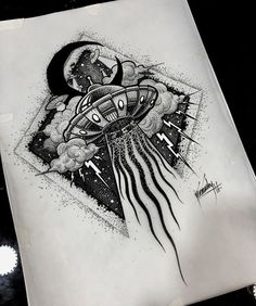 What does ufo tattoo mean? We have ufo tattoo ideas, designs, symbolism and we explain the meaning behind the tattoo. Symbol Tattoos, Body Art Tattoos, New Tattoos, Tribal Tattoos, Cool Tattoos, Alien Tattoo, Tattoo Pencil, Anklet Tattoos, Ink Art