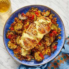 Recipe: Seared Chicken & Crispy Shawarma Rice with Zucchini & Saffron Mayo - Blue Apron