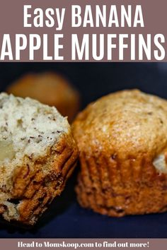 Easy Super Moist Banana Apple Muffins are delicious, moist, perfect day or night and better yet, a great way to use up ripe fruit! Banana Apple Recipes, Apple Banana Muffins, Healthy Banana Recipes, Apple Dessert Recipes, Köstliche Desserts, Baby Food Recipes, Healthy Pumpkin Muffins, Strawberry Muffins, Carrot Muffins