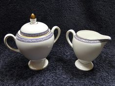 Wedgwood PALATIA Creamer Sugar with Lid Bone China England 1983 NEVER USED! in Pottery & Glass, Pottery & China, China & Dinnerware | eBay
