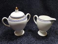 Wedgwood PALATIA Creamer Sugar with Lid Bone China England 1983 NEVER USED! in Pottery & Glass, Pottery & China, China & Dinnerware | eBay