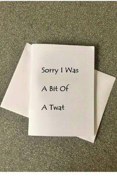 Sorry I Was A Bit Of Twat CardFunny Apology CardRude CardCard For BoyfriendCard FriendGirlfriend CardHumor Card