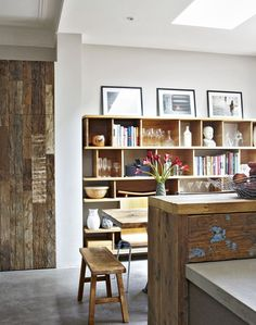 Modern Rustic Kitchen-diner with Wooden Bookcase