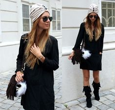 Blanka from Austria rocks the Front Lace Up Knee Hi Boot in black to complete her fabulous, fun outfit!