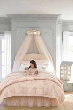Create an enchanted sleep space with this quilted bedding, inspired by the subtle floral patterns of vintage lace. Boasting pintuck accents, the quilt is a welcoming layer. Designed with world-renown fashion designer Monique Lhuillier, it marries function Quilt Bedding, Girl Bedding, Bedding Sets, Little Girl Rooms, Dream Bedroom, Fairytale Bedroom, Luxury Kids Bedroom, Whimsical Bedroom, Magical Bedroom