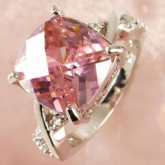 Pink /& White Gemstone Fashion Jewelry Women Gift Silver Plated Ring Size 6 7 8