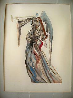 "Salvador Dali signed in plate color print ""THE SUN ANGEL"" Dante's Divine Comedy"