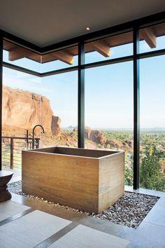 Open space wooden bathtub #Bathroom