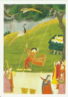 A Lady on Swing of Late Kangra painting of 19th Century | India