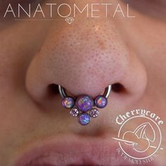 """Here we have a fresh 14g septum piercing that we did with this stunning piece!! All solid implant grade titanium from Anatometal, we have a 3/8"""" front set CBB, with two 3mm light purple opal cabs,..."""