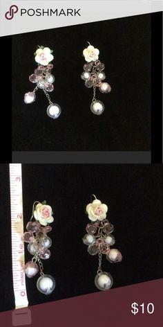 Beaded rose earrings Handmade paper rose earrings with beads. Jewelry Earrings