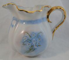 Vintage Creamer Floral Blue Gold Trim