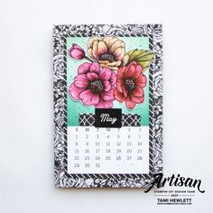 Created with True Love DSP and Days To Remember stamps. See my blog for tutorial. Calendar Pages, Desktop Calendars, Calendar Ideas, April May, Chalk Markers, Friends Are Like, Watercolor Paper, True Love, Stampin Up