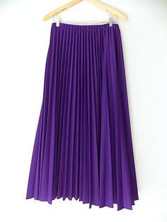 Accordion Pleated Skirt Size Medium Purple Maxi Long Rockabilly Vintage 70s Full #Unknown