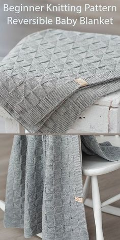 Beginner Knitting Patterns for Reversible Baby Blanket - Easy blanket knit with a triangle stitch created with knit and purl stitches. 3 Sizes 22in*28in (55cm*70cm); 28in * 36in (70cm * 90cm); 35in * 43in (90cm * 110cm). DK weight yarn. Designed by belovedLT who says the patterns are suitable for beginners.