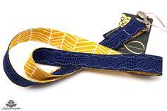 Schlüsselband blau gelb aus der Lieblingsmanufaktur - farbenfrohe Lieblingsstücke