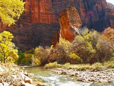 The Temple of Sinawava in Zion National Park in Autumn.