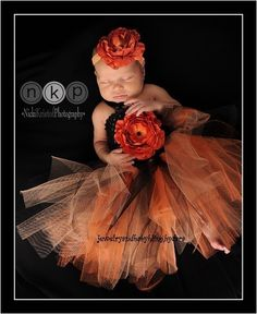 Custom Boutique Fall Orange Cabbage Bling Flower Posh Tutudress Thanksgiving Fall Holidays and Portraits. $44.99, via Etsy.