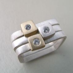 Sterling Silver gold Diamonds Three square stacking rings with sterling silver and gold squares set up top with diamonds. Various sizes available. Silver Bracelets, Sterling Silver Necklaces, Silver Earrings, Bangle Bracelets, Custom Jewelry, Gold Jewelry, Nice Jewelry, Jewellery, Handmade Jewelry