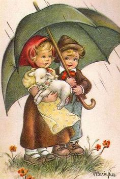 Boy and Girl with little lamb-Maria Pia Franzoni (1902 – ?, Italian)