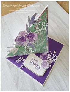 Blue Rose Paper Treasures: Frosted Floral Fun Fold Cards and 8 x 8 Frame 3d Cards, Easel Cards, Stampin Up Cards, Fancy Fold Cards, Folded Cards, Tri Fold Cards, Wedding Anniversary Cards, Wedding Cards, Card Making Templates