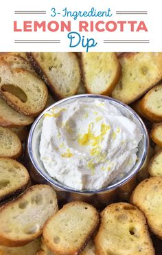 Easily turn a container of average grocery store ricotta into a creamy and elegant whipped lemon ricotta dip to serve with crackers or crostini. Giada Recipes, Dip Recipes, Appetizer Recipes, Great Recipes, Favorite Recipes, Easter Recipes, Finger Food Appetizers, Appetizers For Party, Ricotta Dip