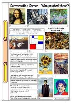 Conversation Corner: Art - Who painted these? worksheet - Free ESL printable worksheets made by teachers