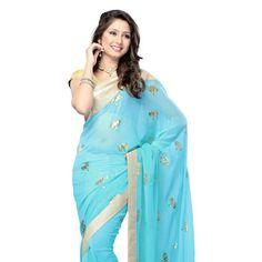 Light Blue Faux Chiffon Saree with Blouse