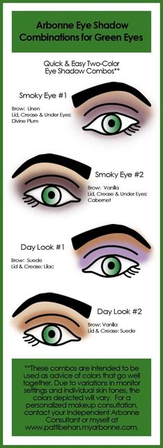 """Here are some suggested Arbonne Eye Shadow Combinations for Green Eyes. """"Like"""" my FB page at Surshae Arbonne Independent Consultant. Consultant ID: 21565488"""
