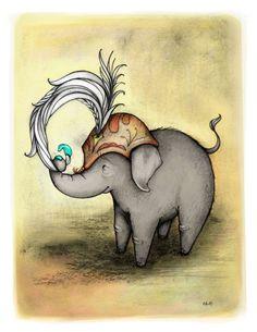 Ooo la lah   85 x 11  Elephant Illustration door CatherineLazarOdell, $25,00