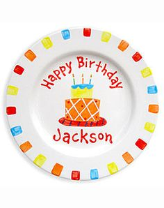 This adorable birthday plate makes a great gift for your little birthday boy. This adorable personalized ceramic plate is 100% hand-painted in the U.S.A. All plates are dishwasher safe. An additional