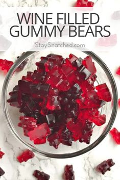 Wine Filled Gummy Bears make the perfect treats for summer holidays Christmas Thanksgiving parties and events. This how-to recipe is quick and easy! These alcohol filled candy gummies are made using jell-o. Serve them as jello-shots for gatherings! Christmas Jello Shots, Christmas Drinks, Holiday Drinks, Christmas Desserts, Christmas Holidays, Xmas, Christmas Stuff, Christmas Baking, Jello Shot Recipes