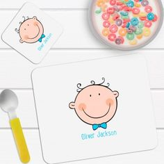 Personalised Boy's Placemat and Coaster Set New Baby Gifts, Placemat, Coaster Set, New Baby Products