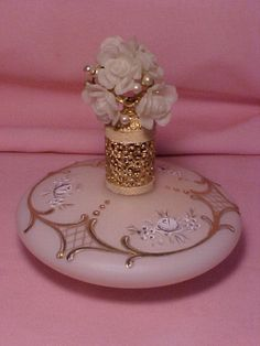 West Germany IRICE Perfume Bottle Jeweled Top White Roses/Pearls Pink Satin GOLD