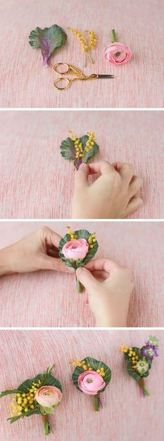 DIY Spring Boutonniere - step by step instructions to make your own spring bouts!