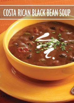 Try this vegetarian Costa Rican Black Bean Soup recipe thickened with refried beans and flavored with Hunt's Diced Tomatoes.